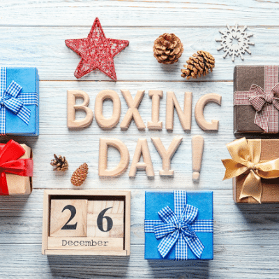 Boxing Day – the day inlingua Andorra blogpost Boxing day with the number 26 and boxes on a table