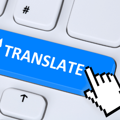 """Error 404, meaning not found! inlingua Andorra blogpost - keyboard key with mouse hovering over a blue button that says """"TRANSLATE"""""""