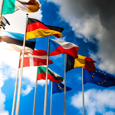 Dia Europeu de les Llengües inlingua Andorra blogpost international flags with the sky in the background