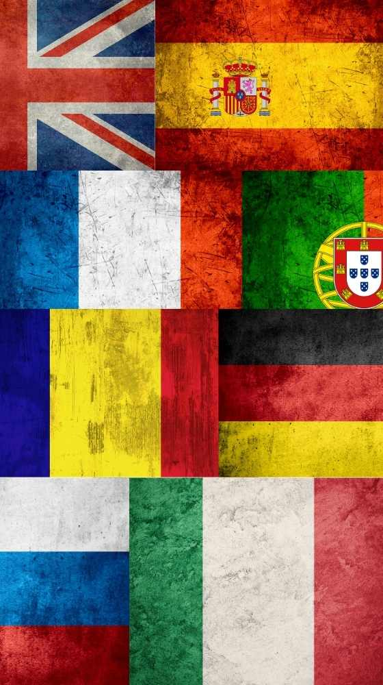 Plusieurs drapeaux, espagnol, allemand, français, anglais, portugais, catalan, russe inlingua Andorre