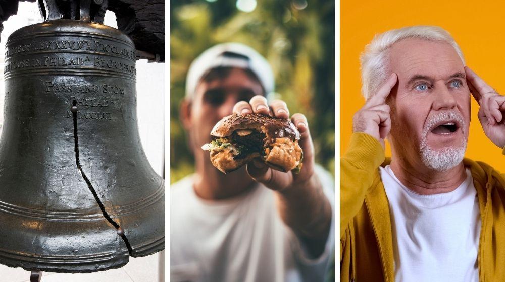 Liberty bell, hamburger, telepathy